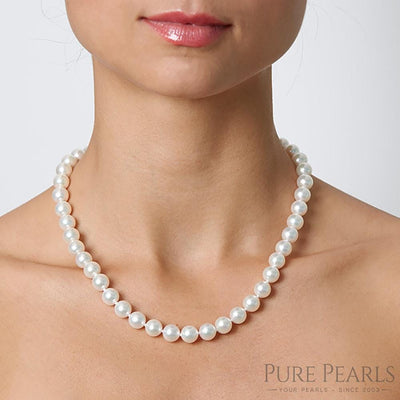9.0-9.5mm Pearl Size Necklace as Shown on Model