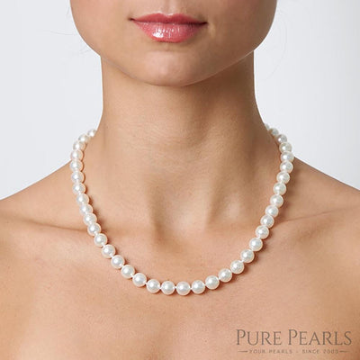 8.0-9.0mm Pearl Size Necklace as Shown on Model