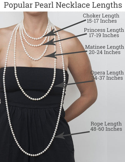 Popular Pearl Necklace Lengths as Shown on Model