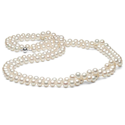 White Freshwater Pearl Endless Rope 100-Inches, 8.5-9.5mm, 14K White Gold