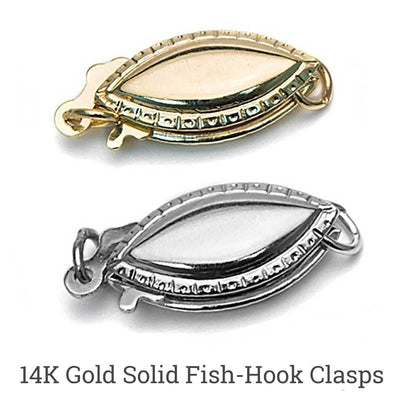 14K Gold Solid Fish Hook Clasp Choices