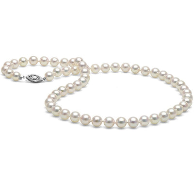 White Akoya Pearl Necklace, 18-Inches, 6.0-6.5mm, AAA Quality, Sterling Silver Clasp