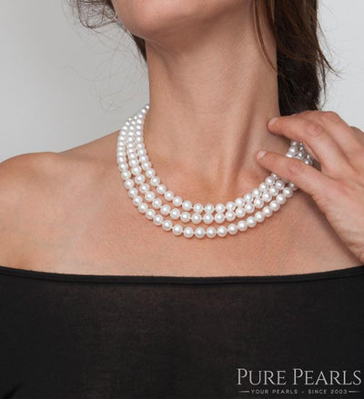 White Akoya Triple Strand Pearl Necklace, 6.5-7.0mm on Model