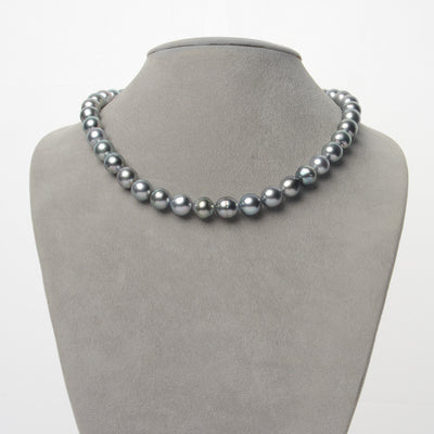 Silvery Peacock Baroque Tahitian Pearl Necklace, 18-Inch, 8.8-9.9mm, AA/AA+ Quality