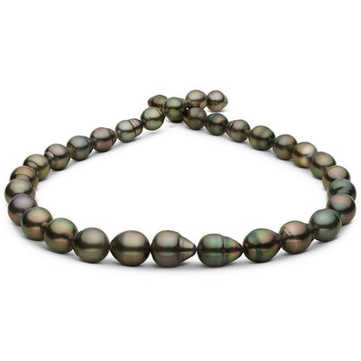 Dark Peacock and Cherry Drop-Shaped Baroque Tahitian Pearl Necklace, 18-Inch, 9.1-11.0mm, AA+/AAA Quality