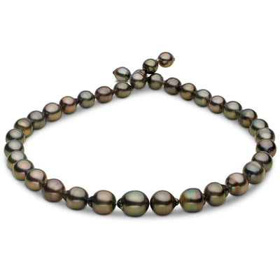 Dark Silver and Peacock Green Drop Tahitian Pearl Necklace, 18-Inch, 8.1-10.7mm, AA+/AAA Quality