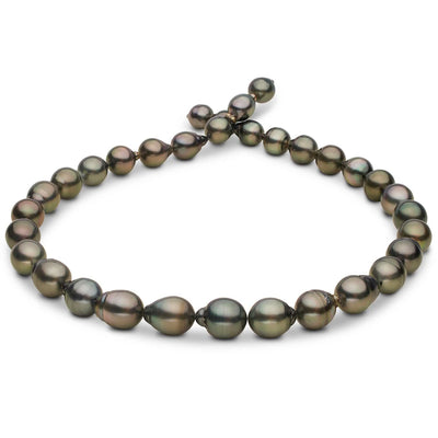 Dark Silver and Peacock Green Baroque Tahitian Pearl Necklace, 18-Inch, 8.5-10.7mm, AA+/AAA Quality