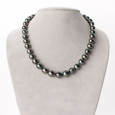 Intense Peacock, Green and Rose Baroque Tahitian Pearl Necklace, 18-Inch, 8.7-10.8mm, AA+/AAA Quality