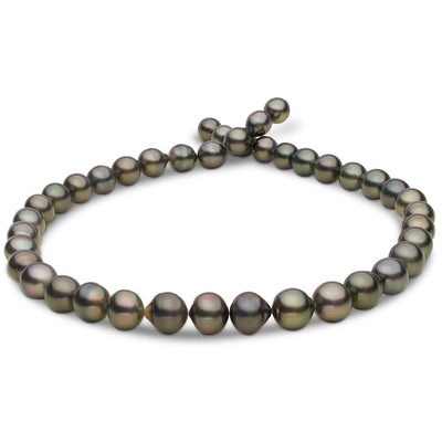 Dark Green and Silver Baroque/Off Round Tahitian Pearl Necklace, 18-Inch, 8.2-10.6mm, AA+/AAA Quality
