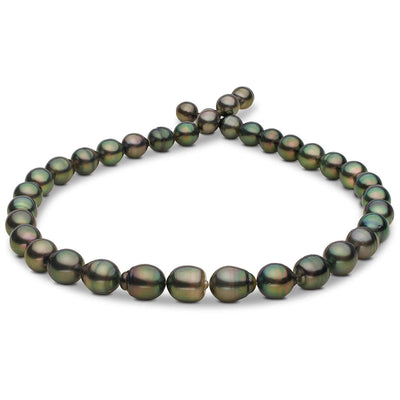 Green, Light Peacock and Silver Baroque Tahitian Pearl Necklace, 18-Inch, 8.2-10.6mm, AA+/AAA Quality