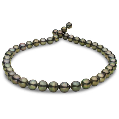 Green and Light Peacock Baroque Tahitian Pearl Necklace, 18-Inch, 7.8-10.4mm, AA+ Quality
