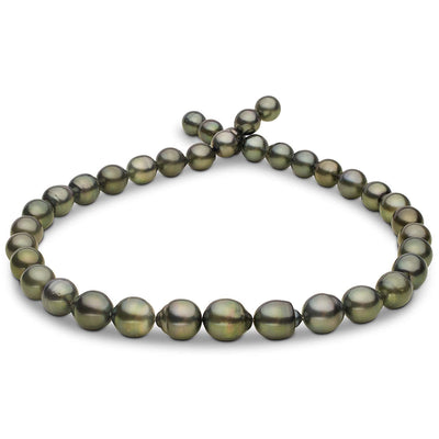 Green and Silver Baroque Tahitian Pearl Necklace, 18-Inch, 8.3-10.9mm, AA+/AAA Quality