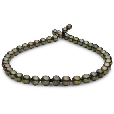 Dark Green Baroque/Off Round Tahitian Pearl Necklace, 18-Inch, 7.7-10.4mm, AA+ Quality