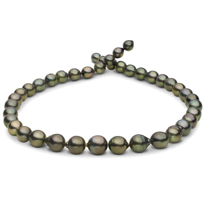 Dark Green Baroque Tahitian Pearl Necklace, 18-Inch, 7.7-10.7mm, AA+/AAA Quality