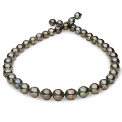 Dark Silver and Green Peacock Baroque Tahitian Pearl Necklace, 18-Inch, 8.3-10.9mm, AA+/AAA Quality