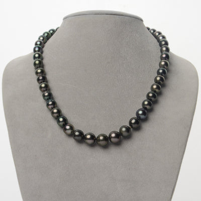 Dark Green Baroque Tahitian Pearl Necklace, 18-Inch, 7.3-10.8mm, AA+ Quality