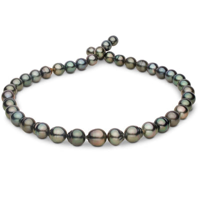 Dark Green and Peacock Tahitian Baroque Pearl Necklace, 18-Inch, 8.4-10.9mm, AA+ Quality