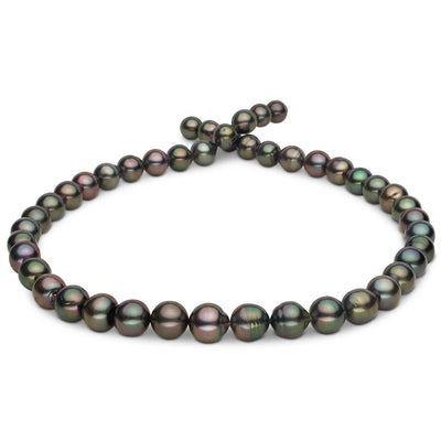 Green, Rose and Peacock Baroque Tahitian Pearl Necklace, 18-Inch, 7.8-10.1mm, AA+/AAA Quality