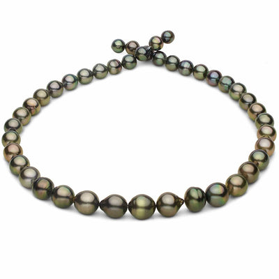 Green and Copper Baroque Tahitian Pearl Necklace, 18-Inch, 7.1-10.8mm, AA+ Quality