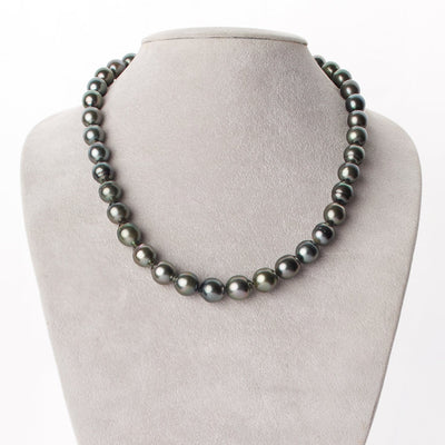 Silver and Green Baroque Tahitian Pearl Necklace, 18-Inch, 8.3-10.8mm, AA+/AAA Quality