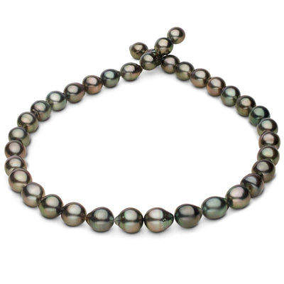 Silver and Blue Green Baroque Tahitian Pearl Necklace, 18-Inch, 8.6-10.7mm, AA+/AAA Quality