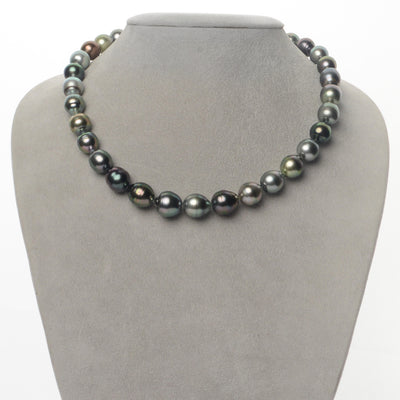 Multi-Color Peacock, Pistachio, Silver and Aquamarine Baroque Tahitian Pearl Necklace, 18-Inch, 9.2-12.1mm, AA+/AAA Quality