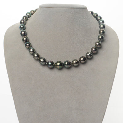 Bright Green and Peacock Baroque Tahitian Pearl Necklace, 18-Inch, 9.2-12.0mm, AA+/AAA Quality
