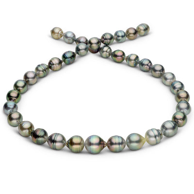 Silvery Multi-Color Baroque Tahitian Pearl Necklace, 18-Inch, 9.2-11.8mm, AA+/AAA Quality