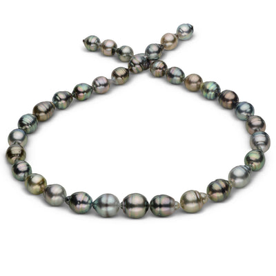 Silvery Multi-Color Baroque Tahitian Pearl Necklace, 18-Inch, 9.0-11.7mm, AA+ Quality