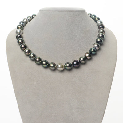 Multi-Color Peacock, Green, Silver and Cherry Baroque Tahitian Pearl Necklace, 18-Inch, 9.2-11.9mm, AAA Quality