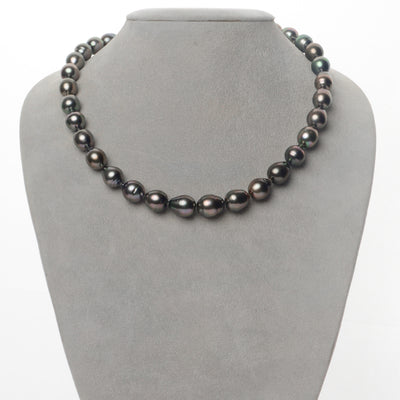 Cherry and Peacock Green Drop-Shaped Tahitian Pearl Necklace, 9.2-11.0mm, AAA Quality
