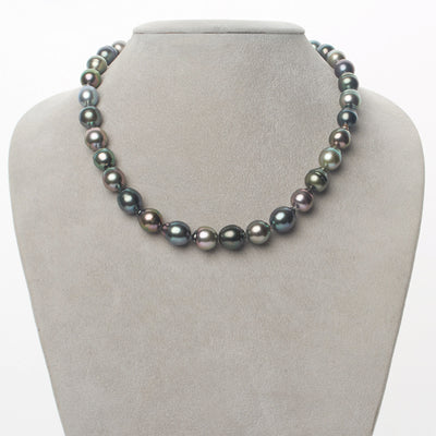 Multi-Color Blue-Green, Green, Rose and Peacock Baroque Tahitian Pearl Necklace, 18-Inch, 8.3-10.2mm, AAA Quality