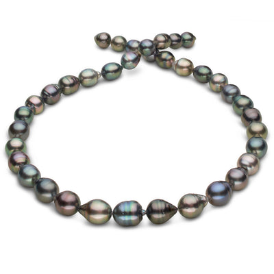 Multi-Color Blue-Green, Blue, Rose, Copper and Peacock Baroque Tahitian Pearl Necklace, 18-Inch, 8.3-10.3mm, AA+/AAA Quality