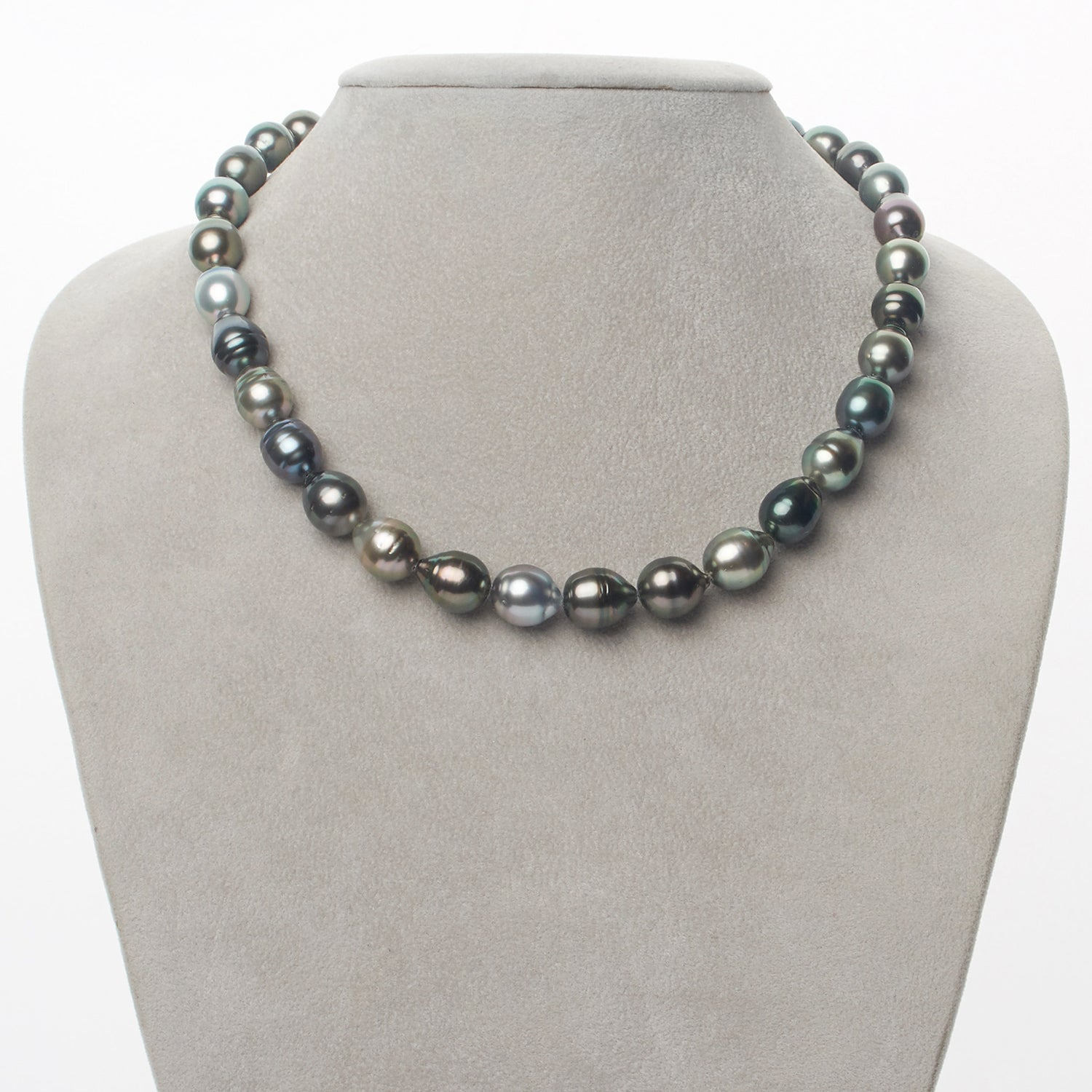 """10-11 mm argent couleur Natural Tahitian Pearl Necklace 18/"""" AAA"""
