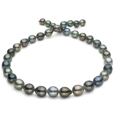 Multi-Color Silvery-Blue, Dark Blue, Green and Peacock Baroque Tahitian Pearl Necklace, 18-Inch, 8.0-10.3mm, AAA Quality