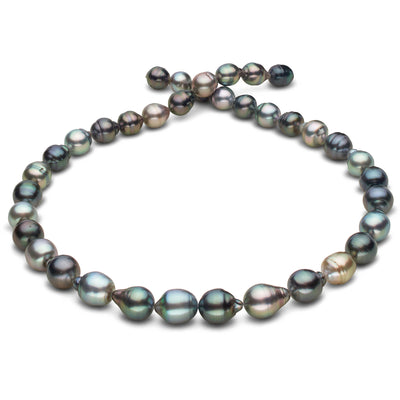 Intense Multi-Color Blue-Green, Blue, Aquamarine, Copper, Gold and Peacock Baroque Tahitian Pearl Necklace, 18-Inch, 8.1-10.2mm, AAA Quality