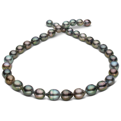 Intense Multi-Color Peacock, Rose, Blue-Green, Blue and Copper/Bronze Baroque Tahitian Pearl Necklace, 18-Inch, 8.2-10.4mm, AAA Quality