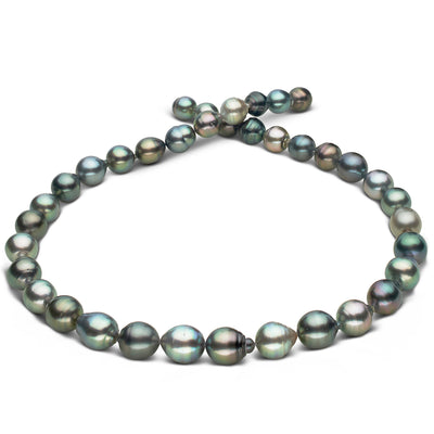 Multi-Color Silver and Aquamarine, light Peacock, Blue-Green and Green Baroque Tahitian Pearl Necklace, 18-Inch, 8.1-10.3mm, AAA Quality