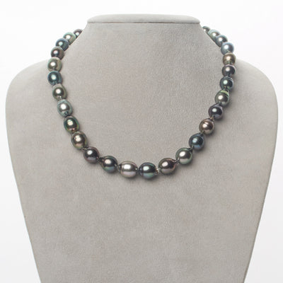 Multi-Color Silver-Rose, Peacock, Blue-Green, Cherry and Silver-Blue Baroque Tahitian Pearl Necklace, 18-Inch, 8.0-10.4mm, AAA Quality