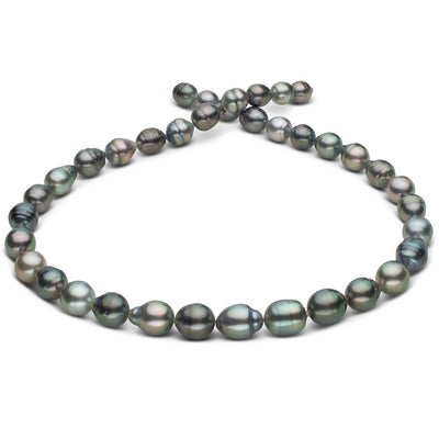 Multi-Color Silvery-Peacock, Dark Green, Aquamarine and Copper Baroque Tahitian Pearl Necklace, 18-Inch, 8.1-10.3mm, AA+/AAA Quality