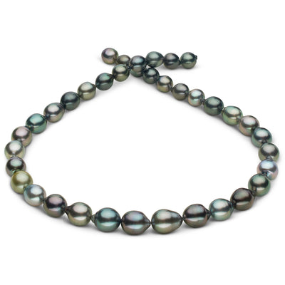 Intense Multi-Color Peacock, Silver-Blue, Cherry and Pistachio Smooth Drop Tahitian Pearl Necklace, 18-Inch, 8.9-10.4mm, AAA Quality
