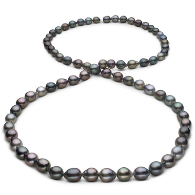 Intense Multi-Color Cherry, Peacock, Green, Blue-Green, Gold and Pistachio Smooth Drop Tahitian Pearl Necklace, 35-Inch, 8.5-10.3mm, AAA Quality