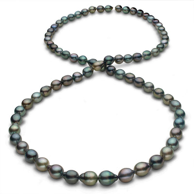Intense Multi-Color Cherry, Peacock, Green, Blue-Green, Copper, Gold and Pistachio Smooth Drop Tahitian Pearl Necklace, 35-Inch, 8.5-11.1mm, AAA Quality