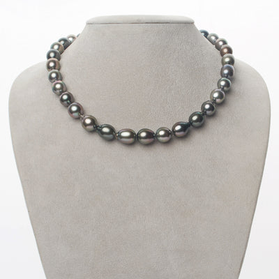Multi-Color Peacock, Green and Silver Smooth Drop Tahitian Pearl Necklace, 18-Inch, 8.4-10.4mm, AAA Quality