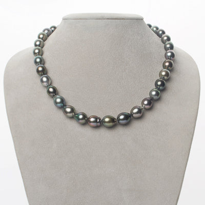 Intense Multi-Color Peacock, Silver, Silver-Blue, Rose and Subtle Green Smooth Drop Tahitian Pearl Necklace, 18-Inch, 8.8-10.4mm, AAA Quality