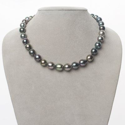 Intense Multi-Color Peacock, Green, Blue-Green, Cherry and Silver-Rose Smooth Drop Tahitian Pearl Necklace, 18-Inch, 8.6-10.7mm, AAA Quality