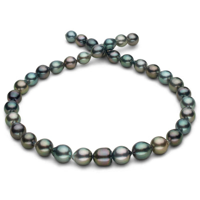 Intense Multi-Color Peacock, Green, Blue-Green, Cherry and Silver Smooth Drop Tahitian Pearl Necklace, 18-Inch, 8.6-10.3mm, AAA Quality