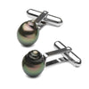 Black Tahitian Baroque Pearl Cufflinks, Sizes: 10.0-11.0mm, 14K White Gold