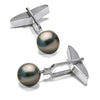 Black Tahitian Pearl Cufflinks, 9.0-10.0mm, Sterling Silver or 14K White Gold Version