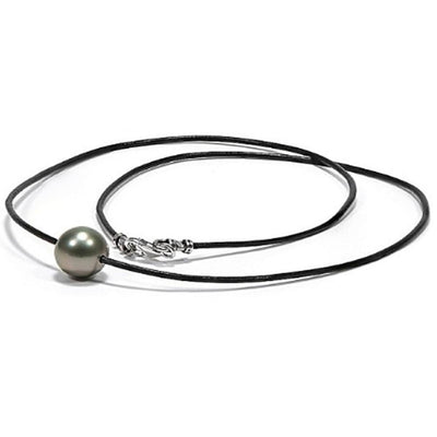 Black Tahitian Round Pearl on Leather Neckpiece, Choose Your Pearl Size